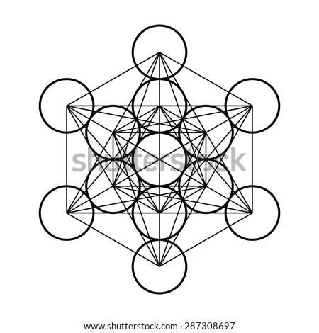 Metatrons Cube Symbol Sacred Geometry Vector Stock Vector