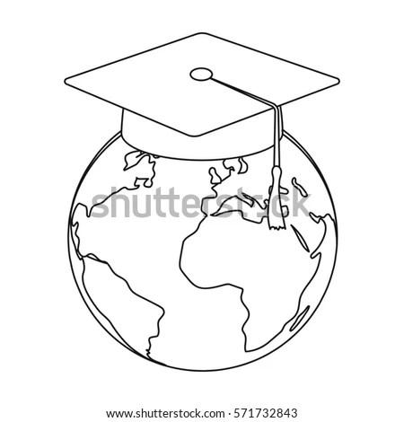 Doodle Style Global Graduation Sketch Vector Stock Vector