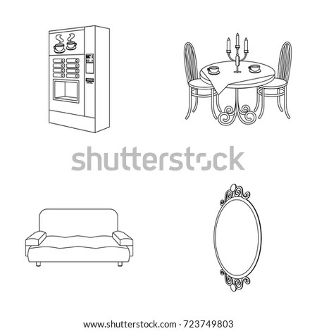 Set Vintage Furniture Silhouettes Vector Illustration