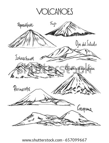 Mountain Landscapes Sketch Icons Scenic Sunset Stock