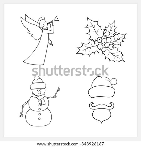 Outlined Christmas Angel Coloring Page Stock Vector