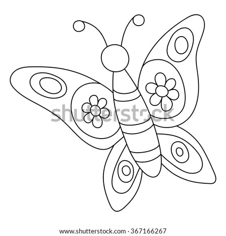 Coloring Page Butterfly Colorful Sample Printable Stock