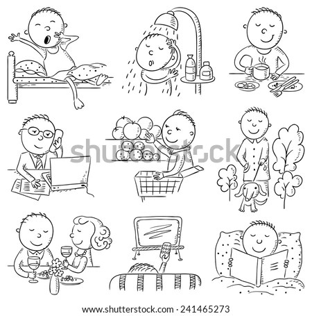 Cartoon Man Daily Activities Set Black Stock Vector