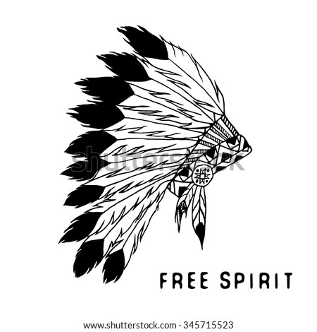 North American Indian Chief Vector Illustration Stock