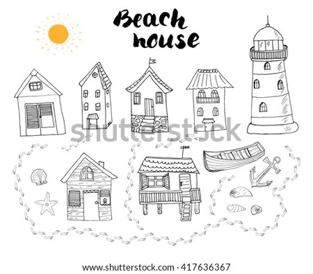 Beach Huts Bungalows Hand Drawn Outline Stock Vector