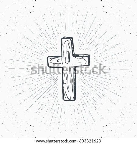 Vintage Label Hand Drawn Christian Cross Stock Vector