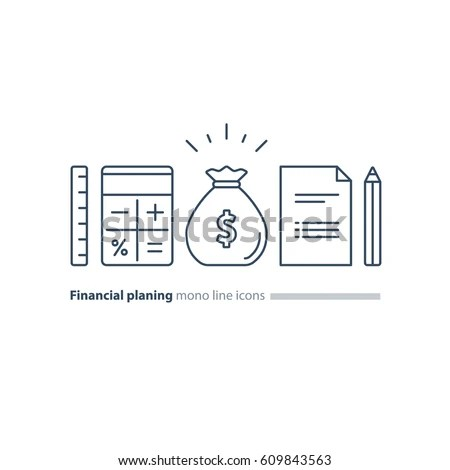 Tax Time Flat Line Icons Vector Stock Vector 545350945