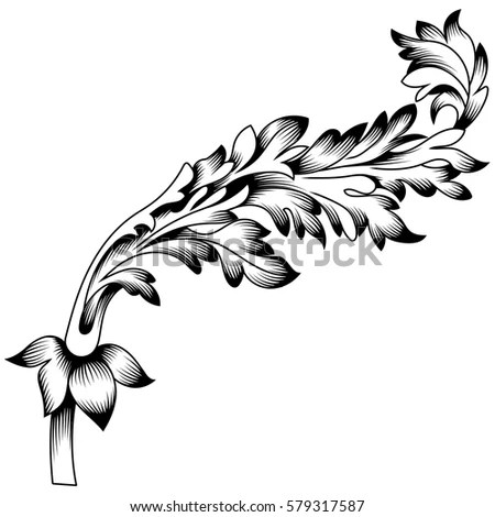 Vintage Baroque Ornament Corner Leaf Retro Stock Vector