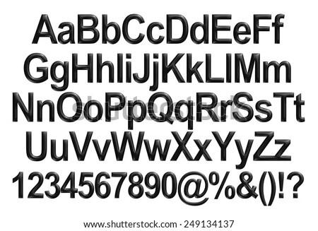 Sanserif Font Black Letter Style Design Stock Vector
