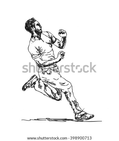 Continuous Line Drawing Basketball Player Stock Vector