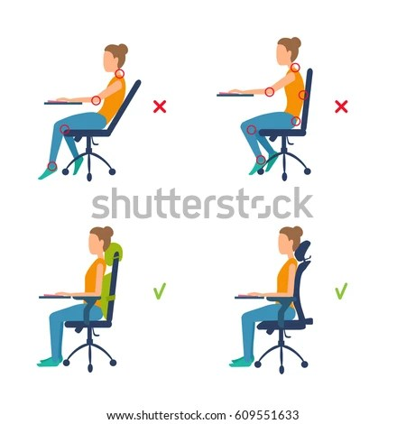 good posture chair office american girl correct incorrect position sitting table ergonomic stock vector 609551618 - shutterstock