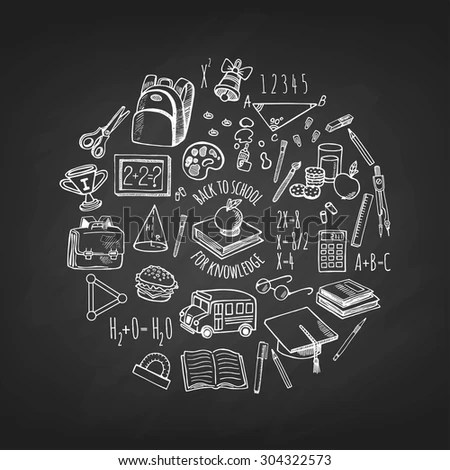 Lets Travel Set Camping Equipment Symbols Stock Vector