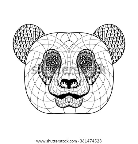 Adult Coloring Pagebook Pig Style Art Stock Vector
