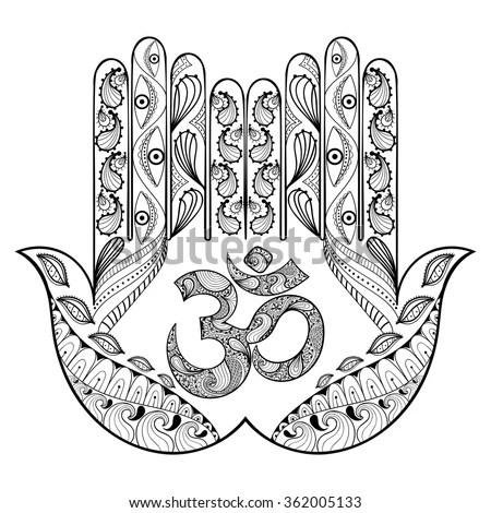 Hand Drawn Boho Hamsa Protection Amulet Symbol Of Wiring