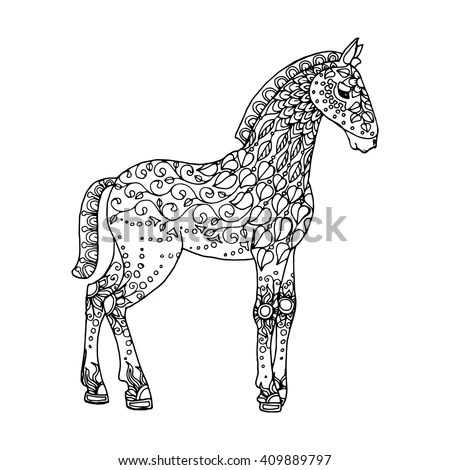 Horse Zentangle Pattern Page Adult Colouring Stock Vector