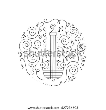 Guitar Floral Details Entertainment Design Jpeg Stock