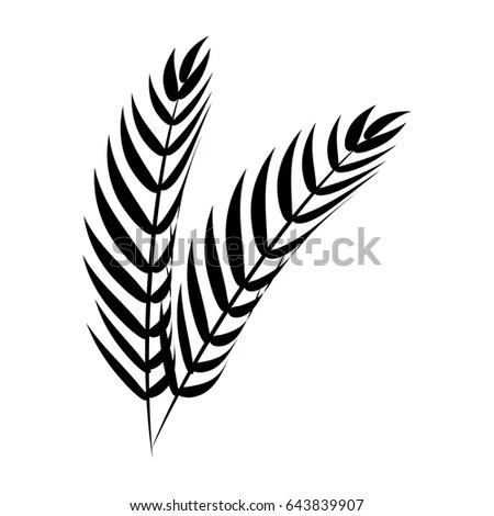 Wheat Ear Blowing Wind Icon Set Stock Vector 100113719
