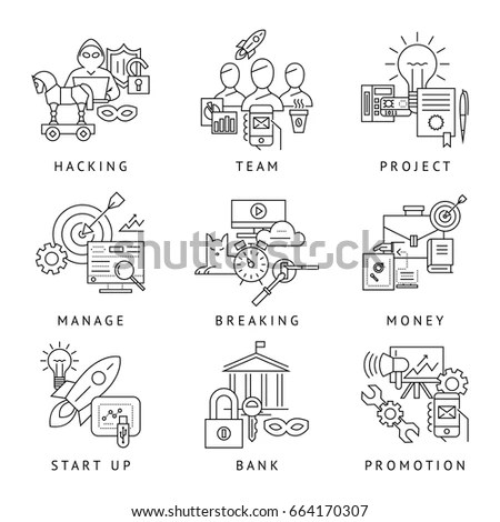 Big Set Icons Automatic Manual Production Stock Vector