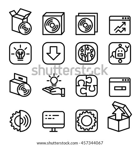Basic Smart Phone Application Icon Set Stock Vector