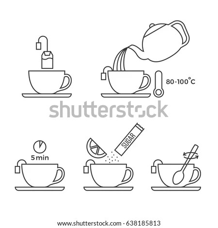 Tea Making Instruction Cooking Infographic Manual Stock