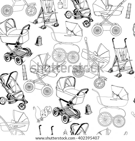 Vector Illustration Seamless Pattern Hand Drawn Stock