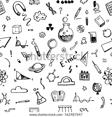 Hand Drawn Set Science Elements Seamless Stock Vector