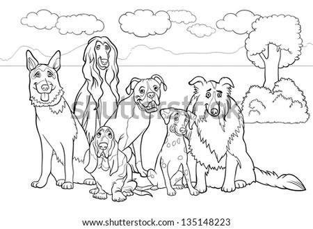Black White Cartoon Illustration Cute Purebred Stock