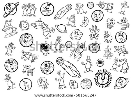Collection Black White Cartoon Drawings On Stock Vector