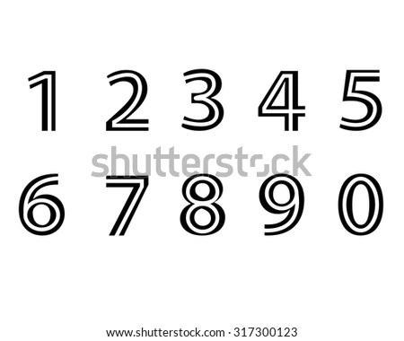 Numbers Set Hipster Parallel Offset Thin Stock Vector