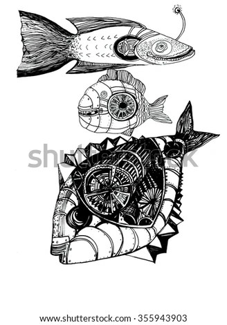 Mountains Circle Tattoo Celtic Style Great Stock Vector