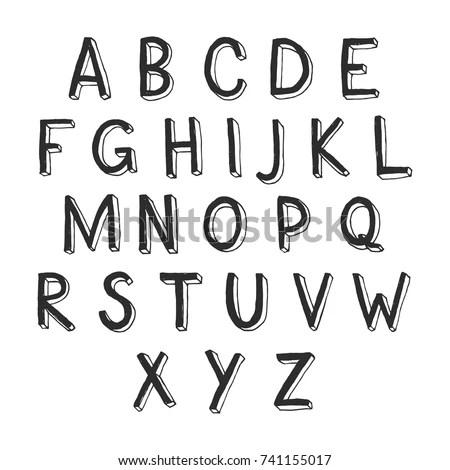 Vector Set Outline Letters Alphabet Abc Stock Vector