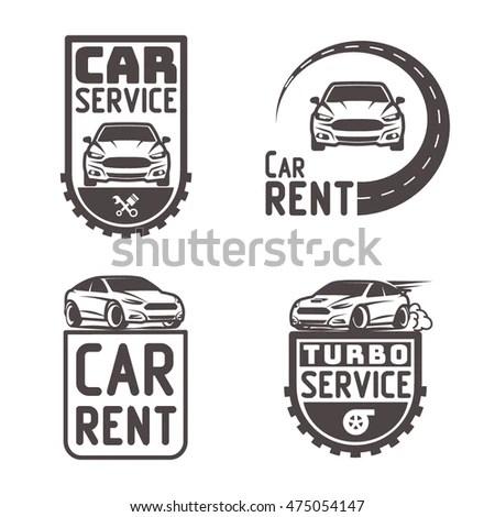 Set Classic Muscle Car Logo Stock Vector 618835571