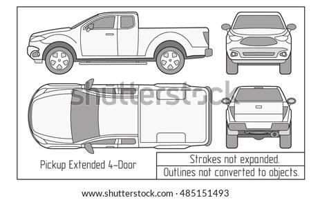 Car Pickup Truck Half Cab Vector Stock Vector 409541260