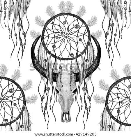 Bird Skull Dreamcatcher Vector Print Stock Vector