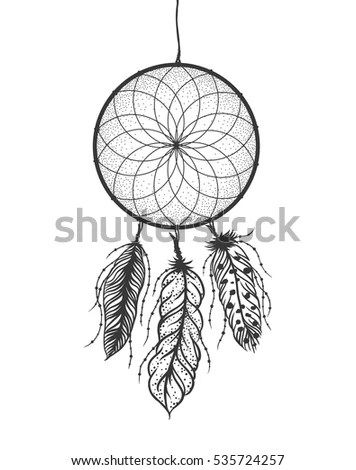 Dreamcatcher Feathers Beads Native American Indian Stock