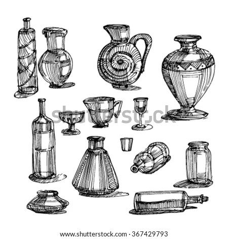 Black White Fantasy Vintage Perfumes Pattern Stock Vector