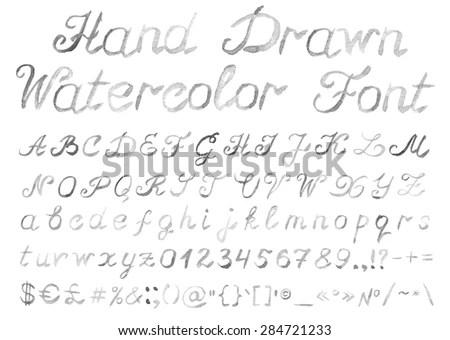 Alphabet Font Black White different Styles Stock Vector
