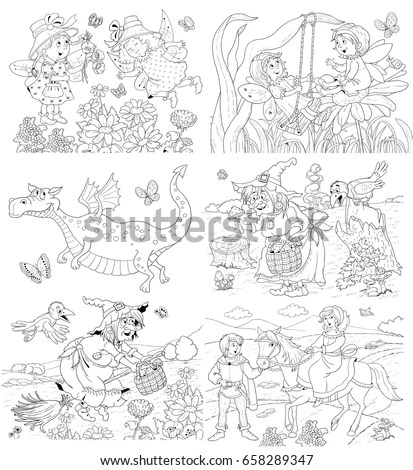 Set Cartoon Line Drawings Angels Different Stock Vector