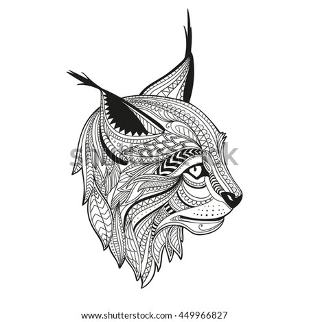 Handdrawn Lynx Ethnic Floral Doodle Pattern Stock Vector