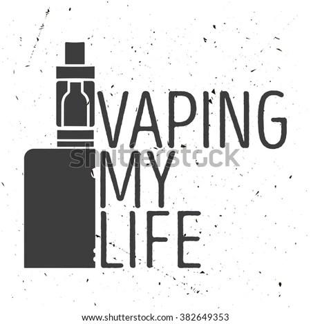 Emblem Electronic Cigarette Steam Inscription Vaping Stock