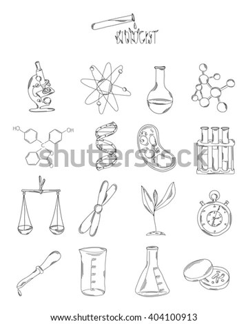 Hand Draw Chemistry On Black Background Stock Vector