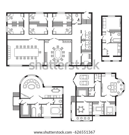 Architectural Hand Drawn Floor Plan Bedroom Stock Vector