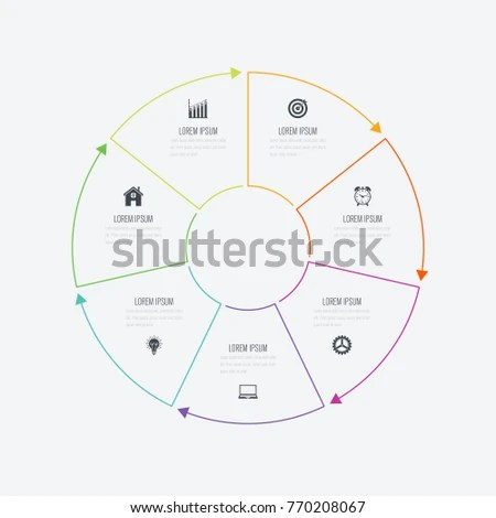 Infographics Colored Sections Flat Pie Chart Stock Vector