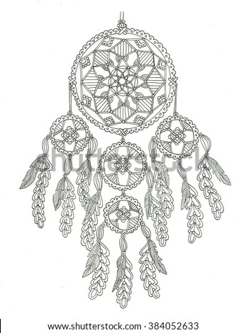 Tribal Vector Dream Catcher Feathers Hand Stock Vektor