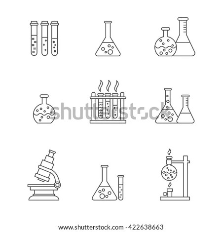 Flask Icons Set Vector Linear Laboratory Stock Vector
