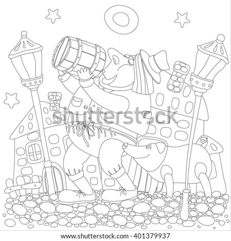 Handdrawn Fairy House Black White Vector Stock Vector