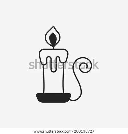Old Fashioned Lit Candle Candlestick On Stock Vector