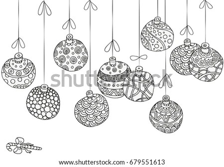 Black White Hanging Christmas Baubles Patterns Stock