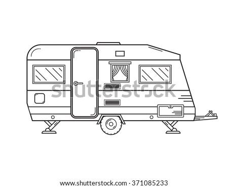 Camping Trailer Family Caravan Traveler Truck Stock Vector