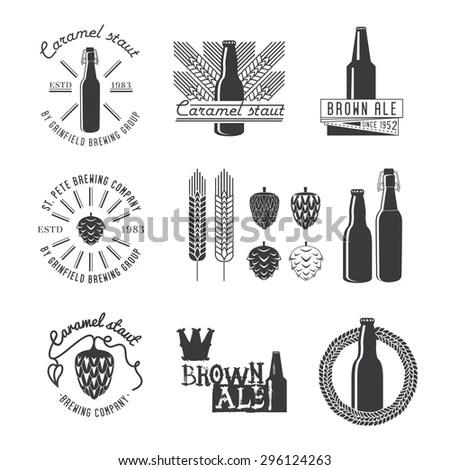 Vintage Vector Set Labels Beer Design Stock Vector